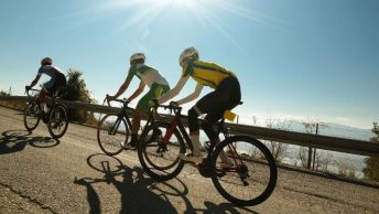 Groupe de cyclistes en vélos de route